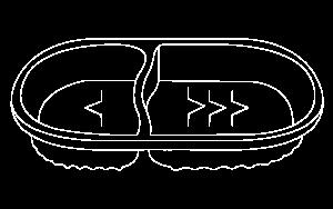 Pote Oval com 2 divisórias – 800ml